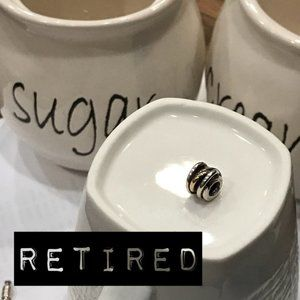 """Pandora Retired Charm Two-tone """"Forget Me Not"""""""